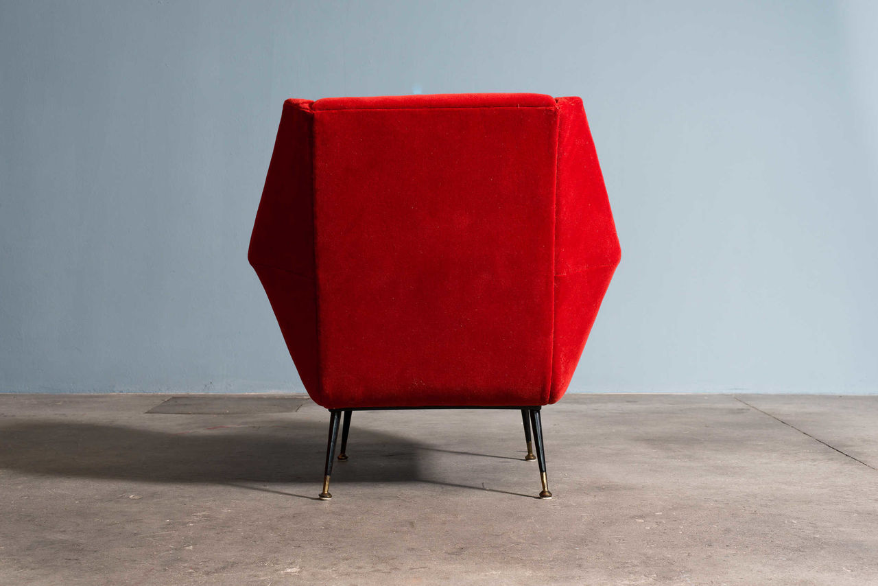 1950s Italian Armchair Red