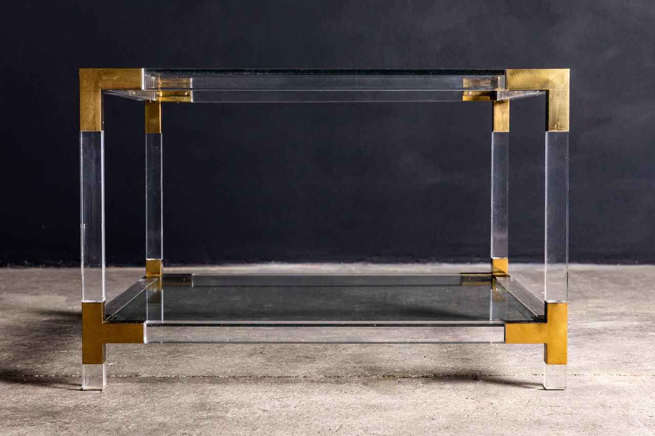 1960S Lucite and Brass Italian side table