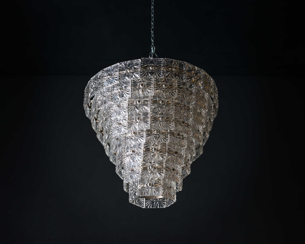 1960s Crystal and Brass Chandelier