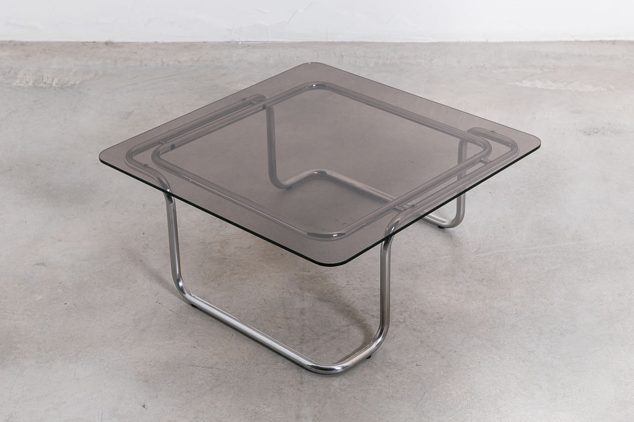 1970S Italian glass and chrome Coffee table