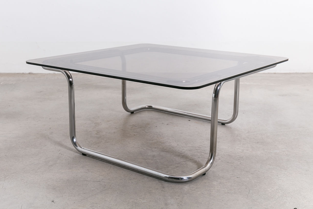 Italian Glass Coffee Table.1970s Italian Glass And Chrome Coffee Table Castorina Co