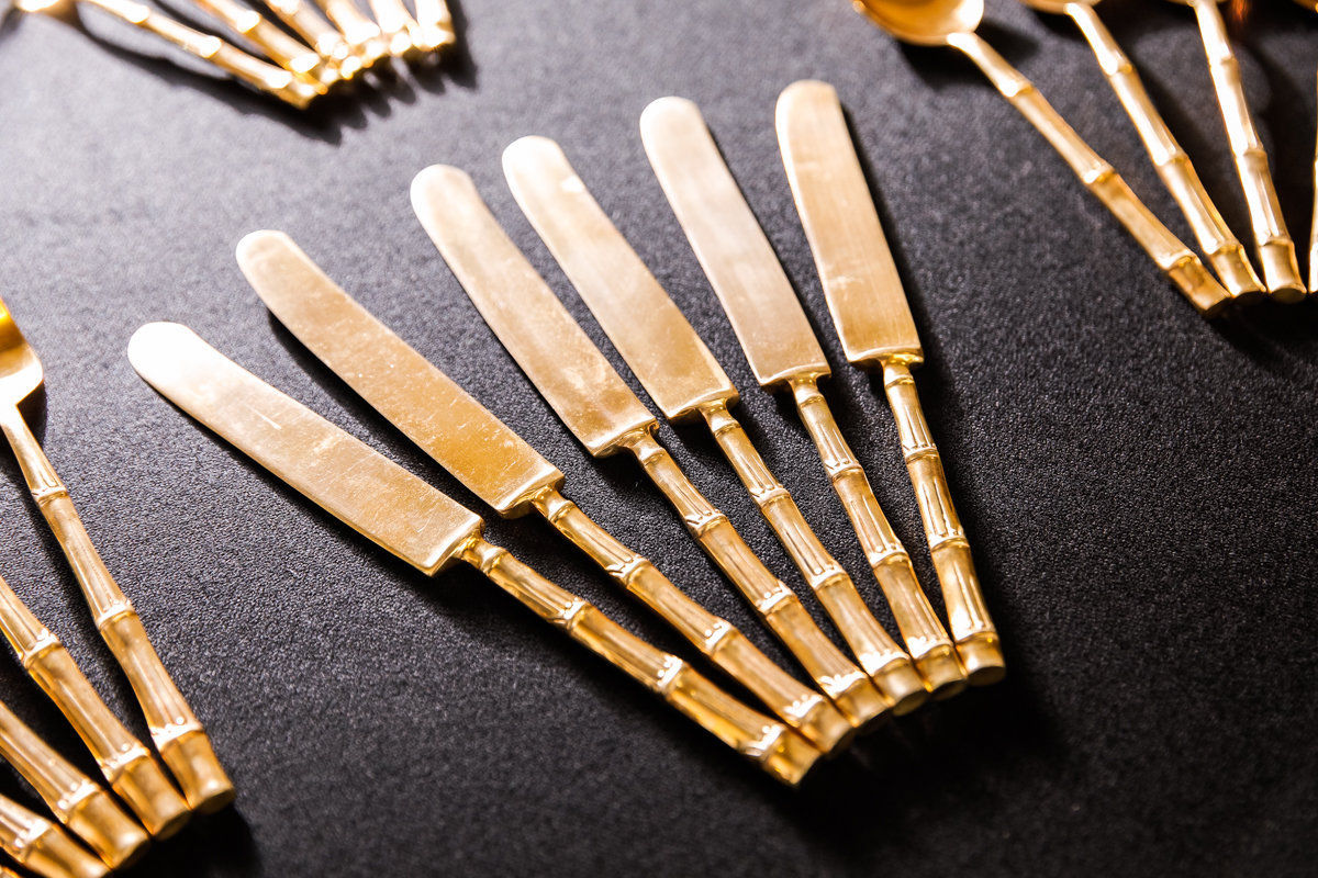 24 Piece Vintage Bamboo Cutlery Set