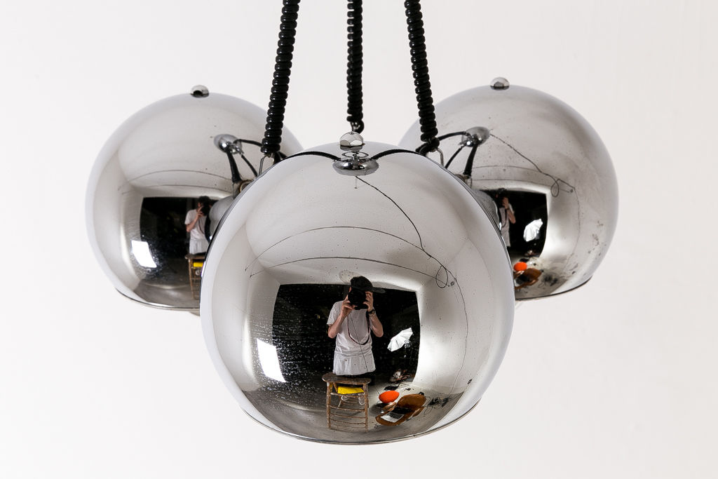 3 Chrome Balls Pendant by Gino Sarfatti