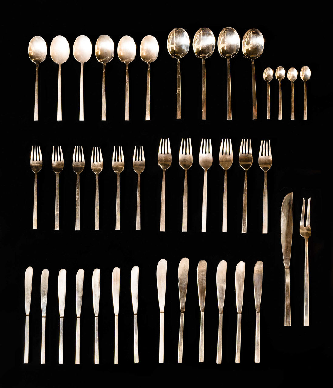 40 Piece vintage brass cutlery set