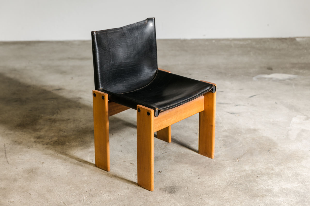 Afra and Tobia Scarpa Monk Chair Black Leather
