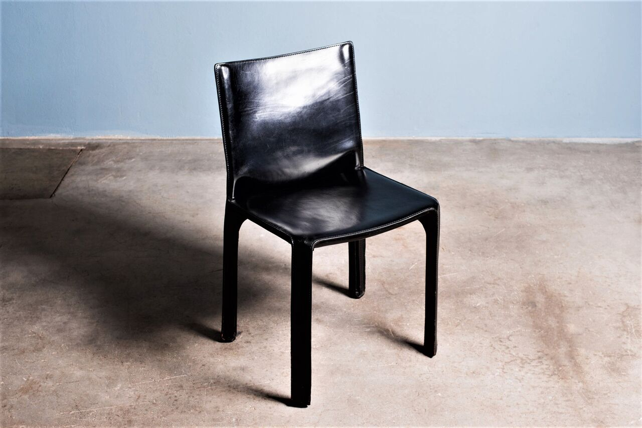 Black leather Cab Chair by Mario Bellini 1980s