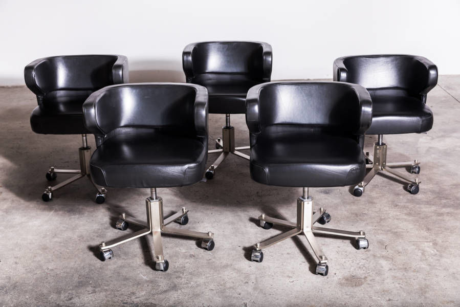 Black leather Poney chairs by Gianni Moscatelly 1970