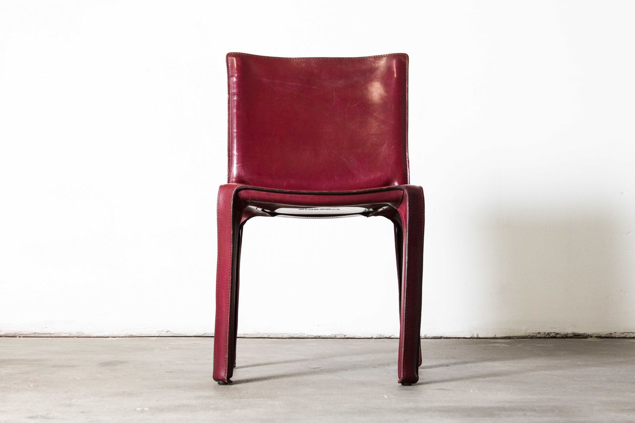 Bordeaux Italian leather Cab Chairs by Mario Bellini Set of 6