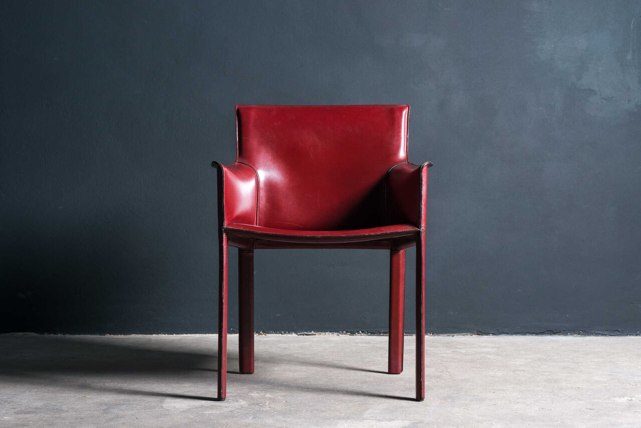 Bordeaux leather Cab Armchair by Mario Bellini