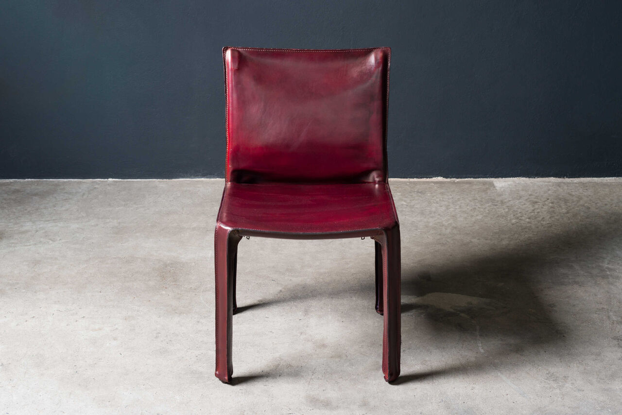Bordeaux leather Cab Chair by Mario Bellini 1980s