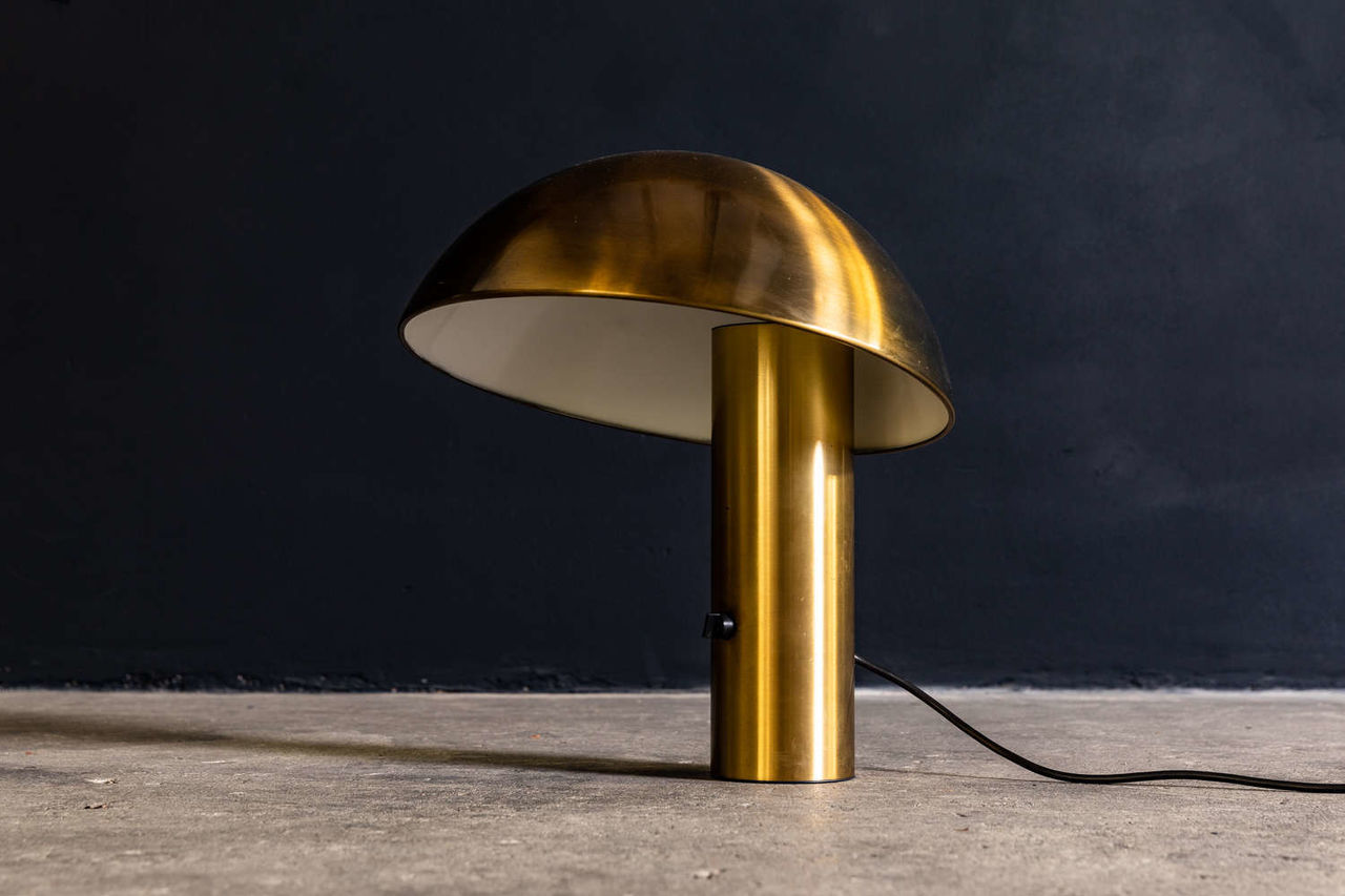 Brass table lamp by Franco Mirenzi for Valenti 1978
