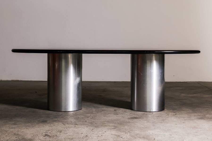 Brushed steel and Lacquered Desk Circa 1970 Italy