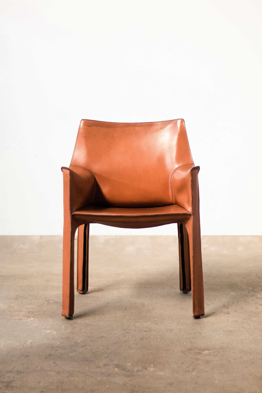 Cognac leather Cab Armchair by Mario Bellini