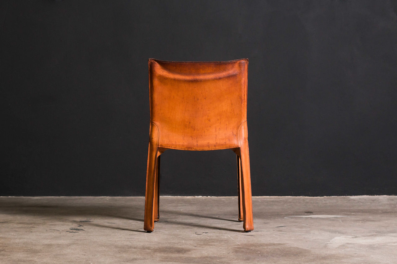 Cognac leather Cab Chairs by Mario Bellini 1980s Set of 12