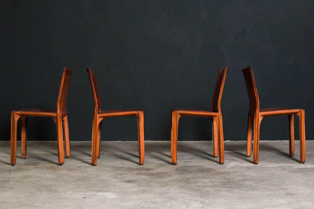 Cognac leather Cab Chairs by Mario Bellini 1980s Set of 4