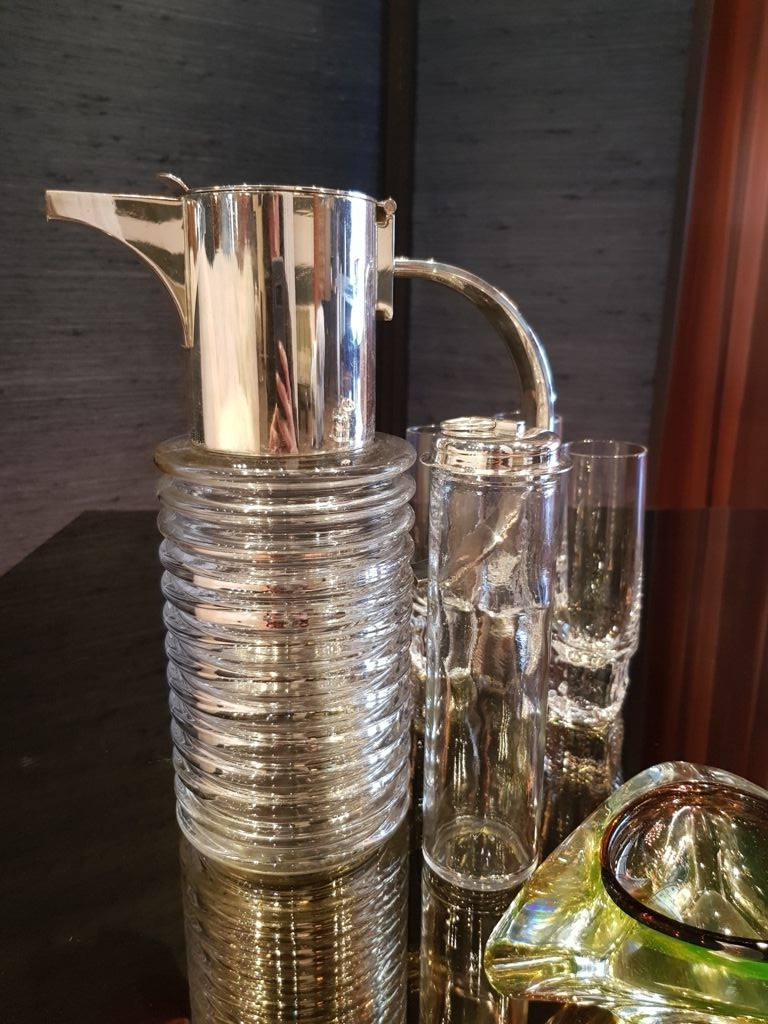 Crystal and silver plate decanter by Sergio Asti