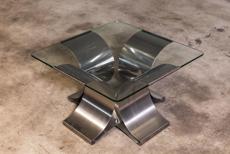 French Modern Francois Monnet Steel and Glass Cocktail Table 1970
