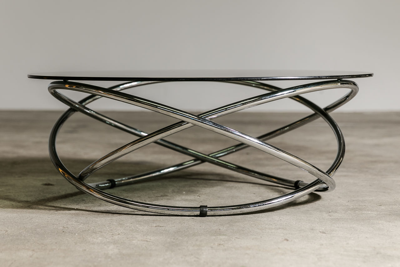 Glass and Chrome ring coffee table