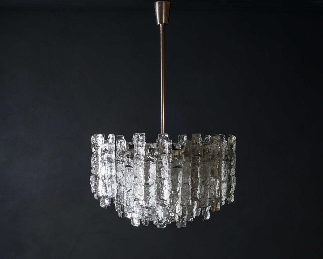 Ice glass chandelier by JT Kalmar 1970s