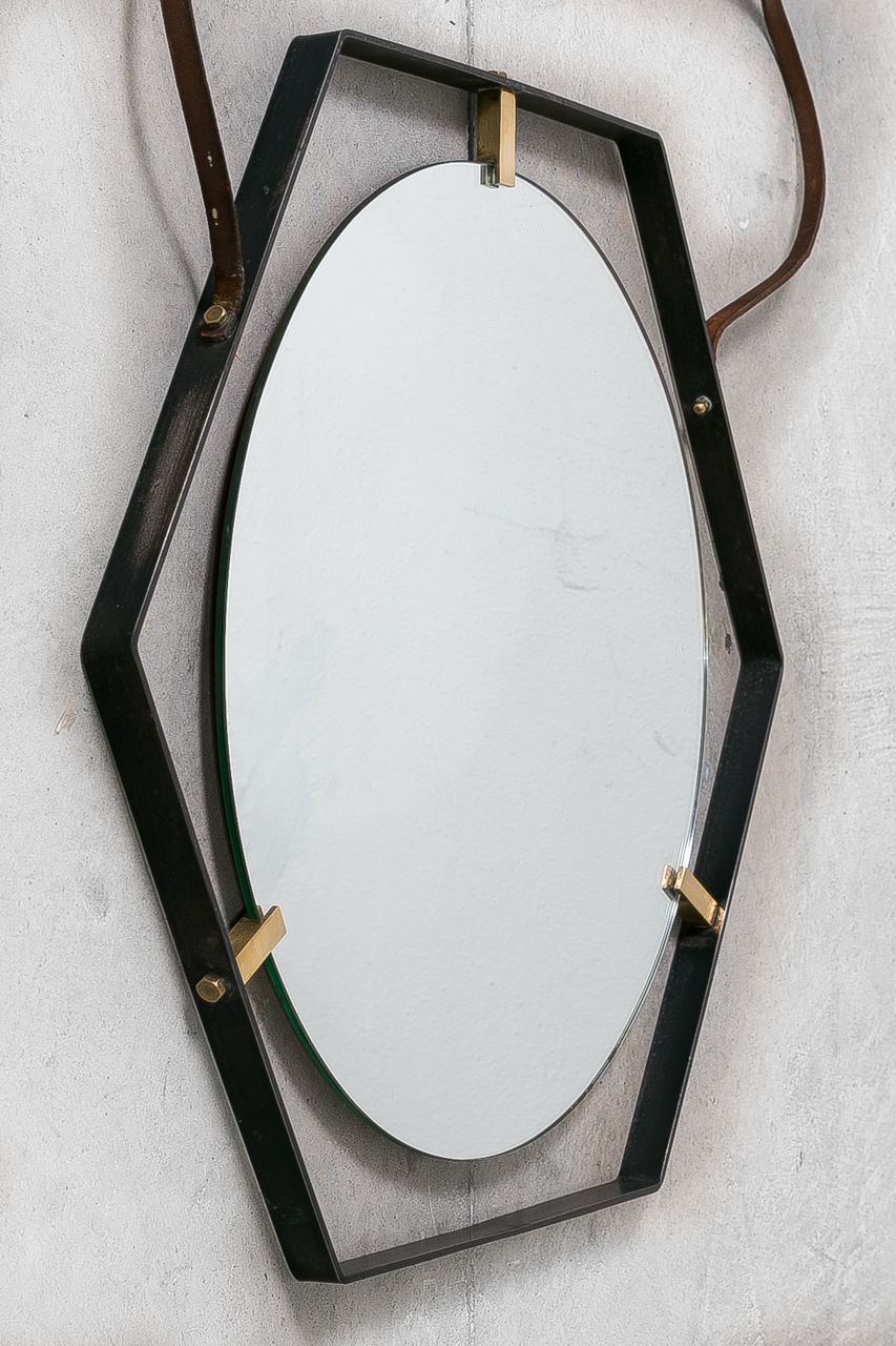 Italian Metal and Brass Mirror Circa 1950s