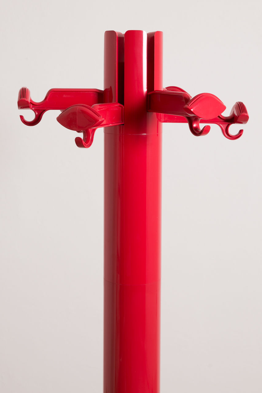 Italian Red Planta Coat Rack by Giancarlo Piretti for Castelli 1970s