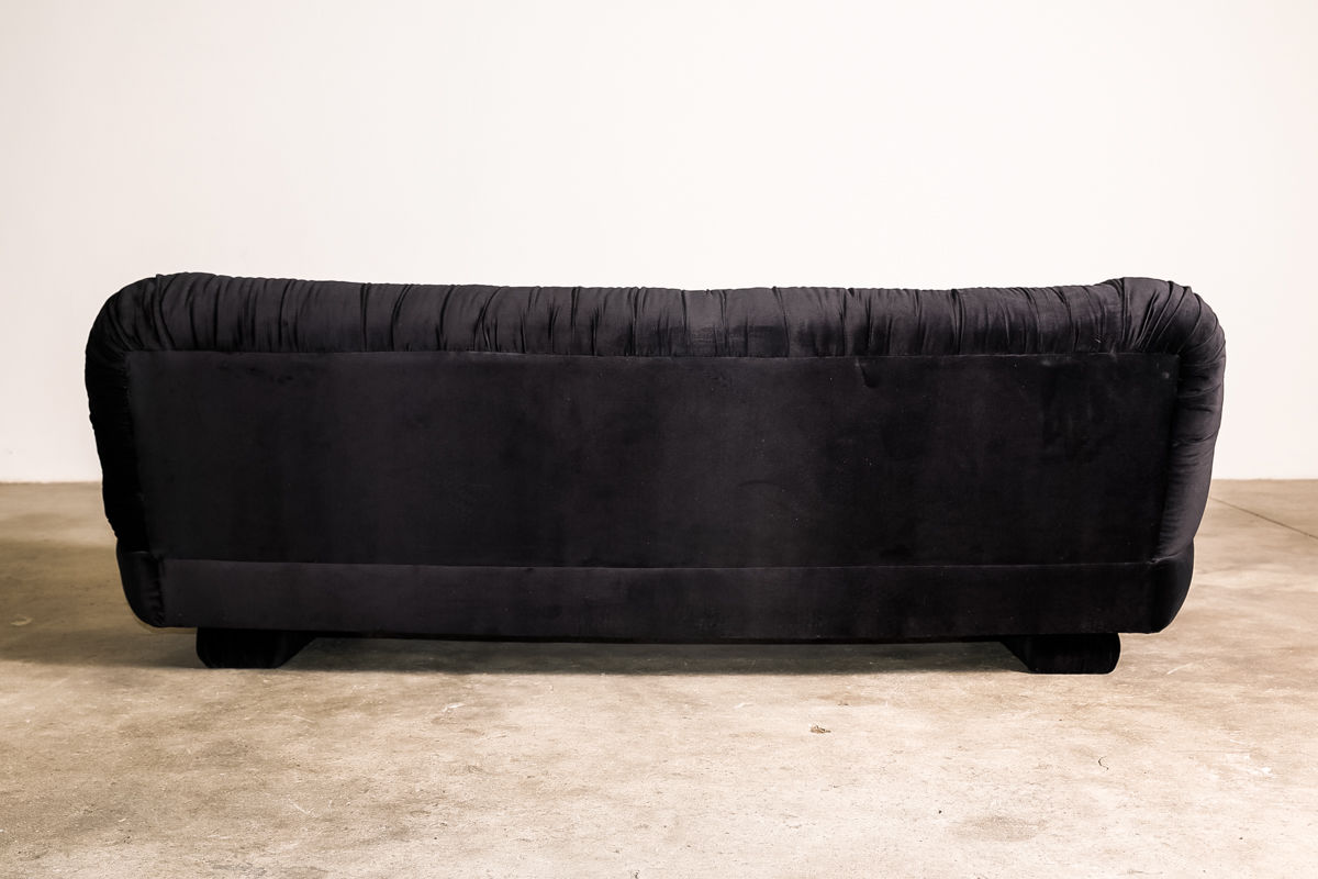 Italian Sofa in Black Velvet 1970s