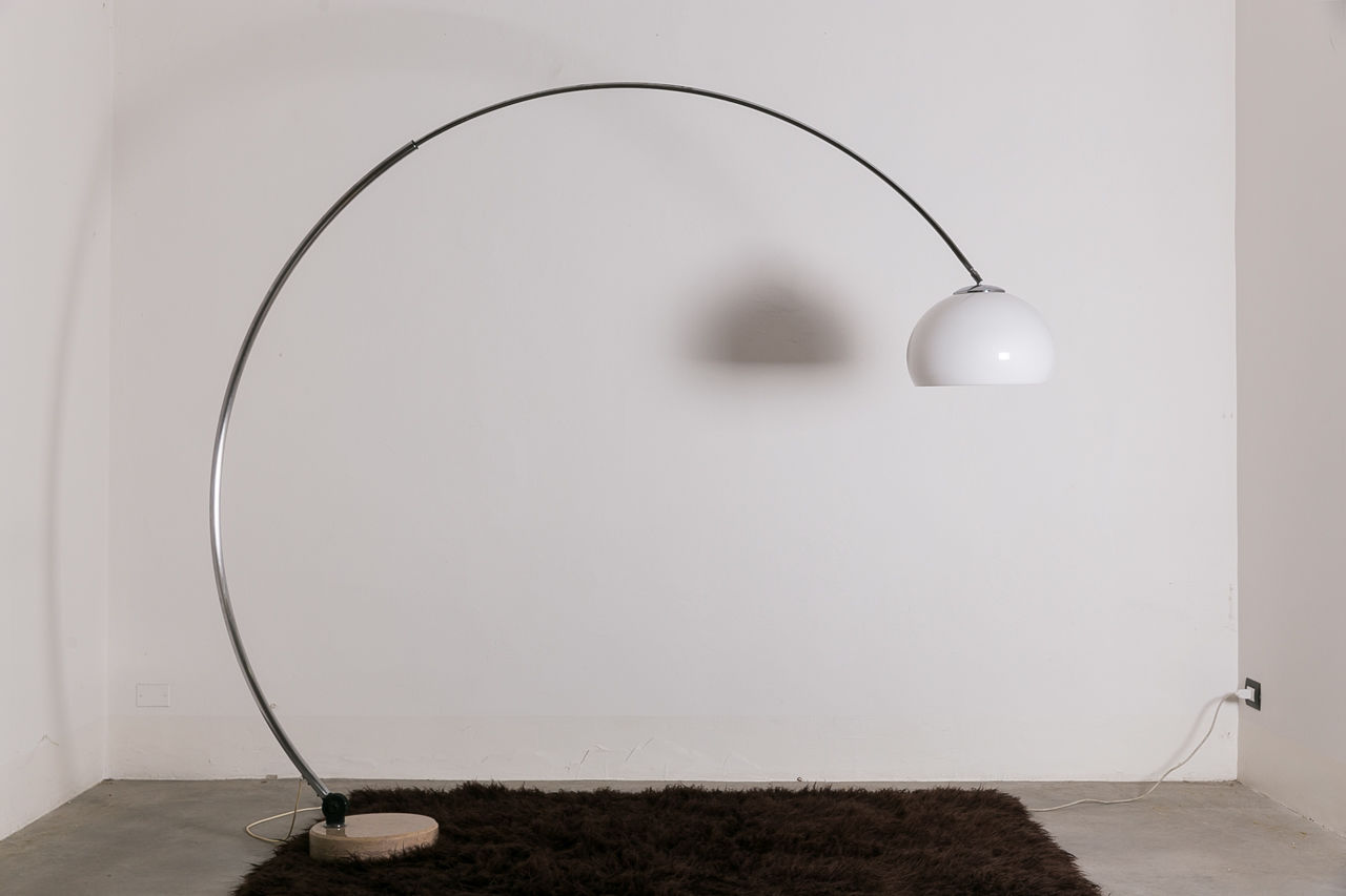 Italian arc floor lamp with marble base Circa 1960