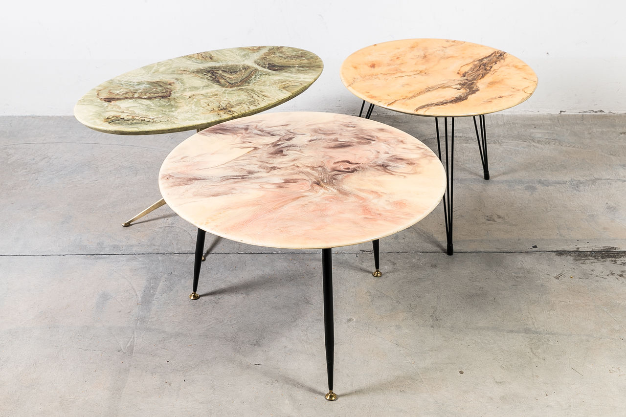Italian resin table with cast brass Legs by Fuso Martini
