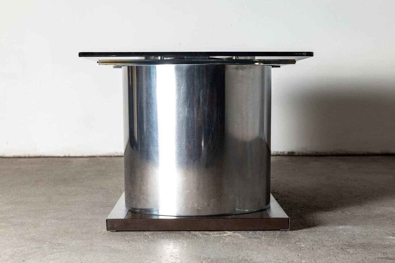 Large Glass and steel coffee table from Acerbis 1970s