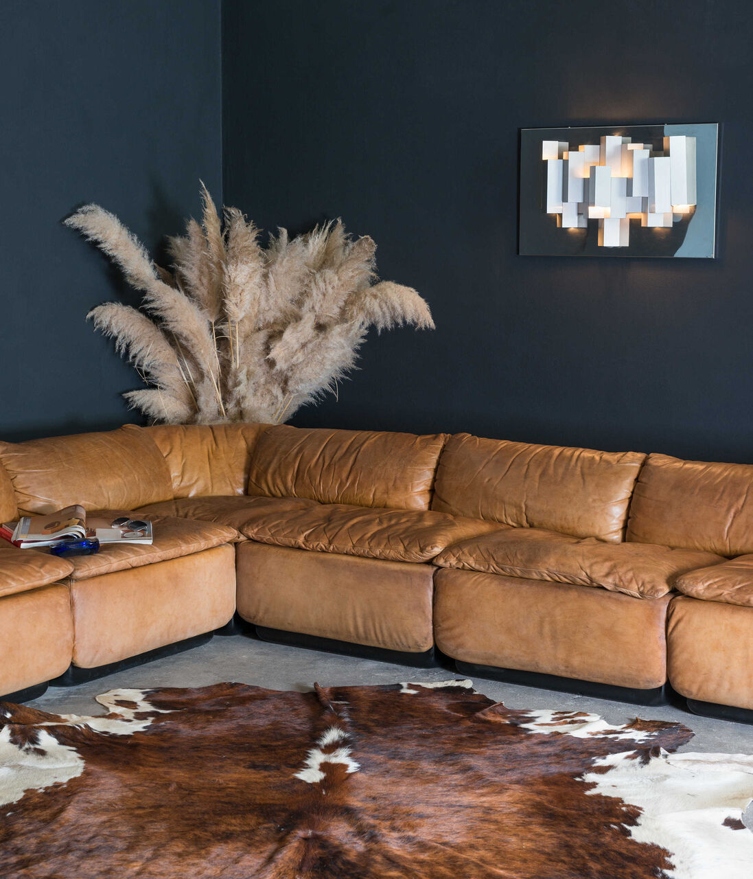 Leather Saporiti Confidential sectional sofa by Alberto Roselli