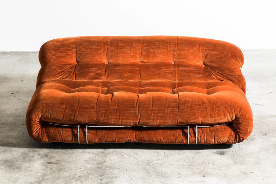 Leather Soriana 2 seat Sofa by Afra and Tobia Scarpa for Cassina 1970 Italy