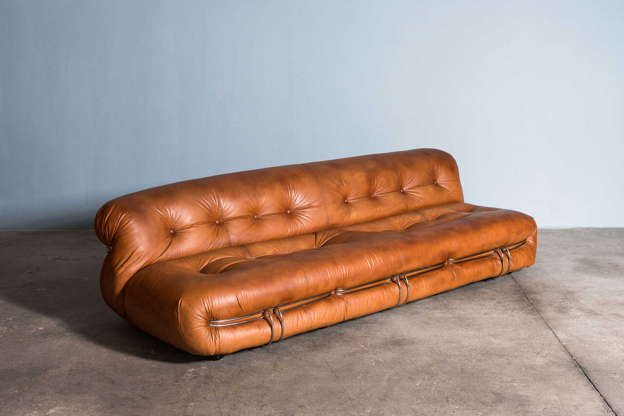 Leather Soriana 3 seat Sofa by Afra and Tobia Scarpa for Cassina 1970 Italy