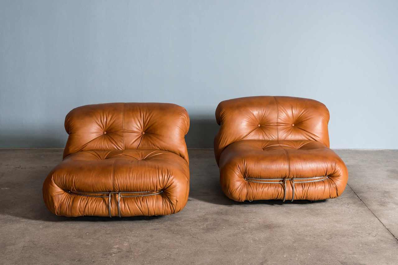 Leather Soriana Lounge Chairs By Afra and Tobia Scarpa for Cassina 1970 Italy