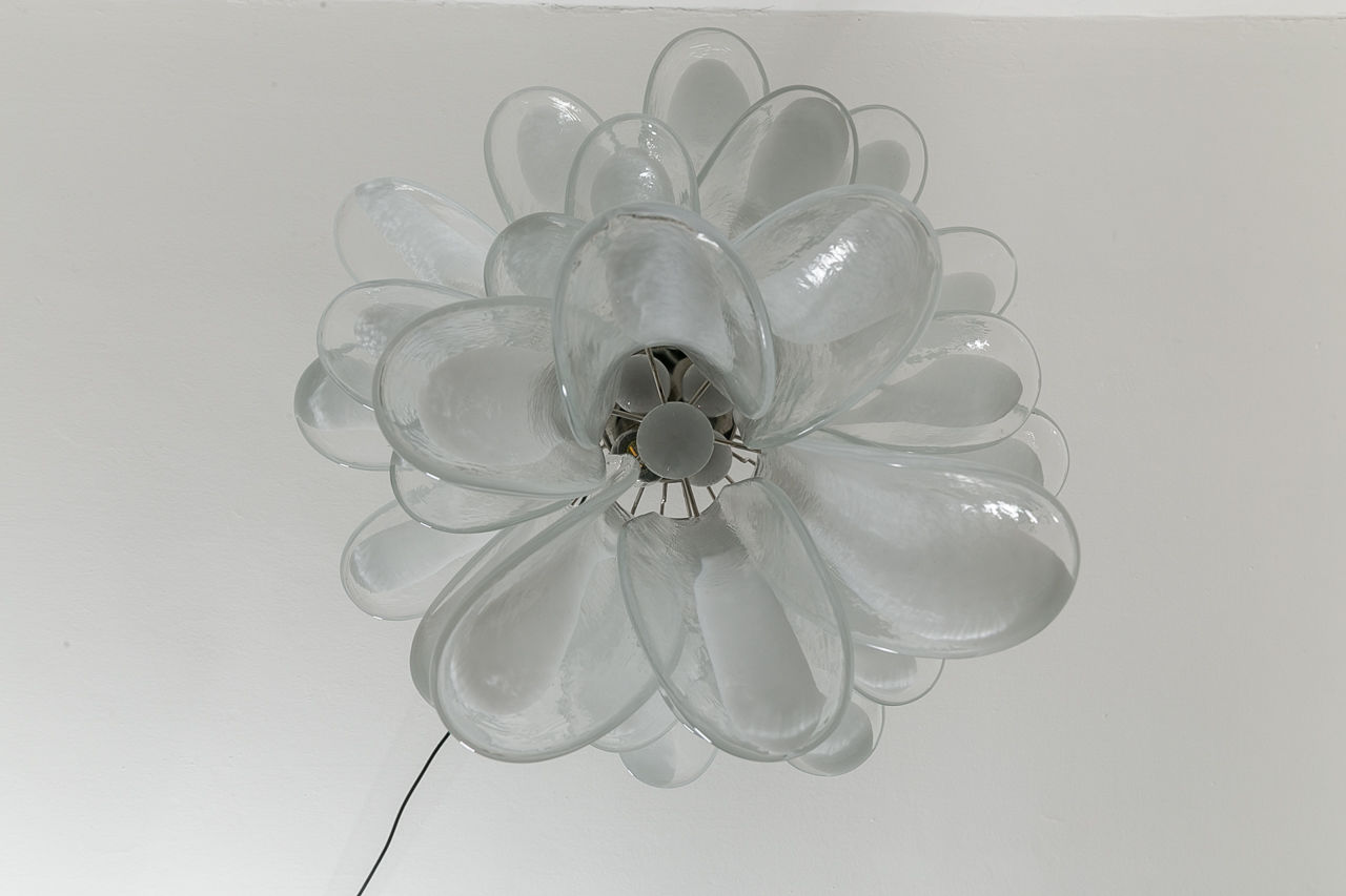MidCentury Modern Polished Chrome and Murano Glass Petal Chandelier Mazzega