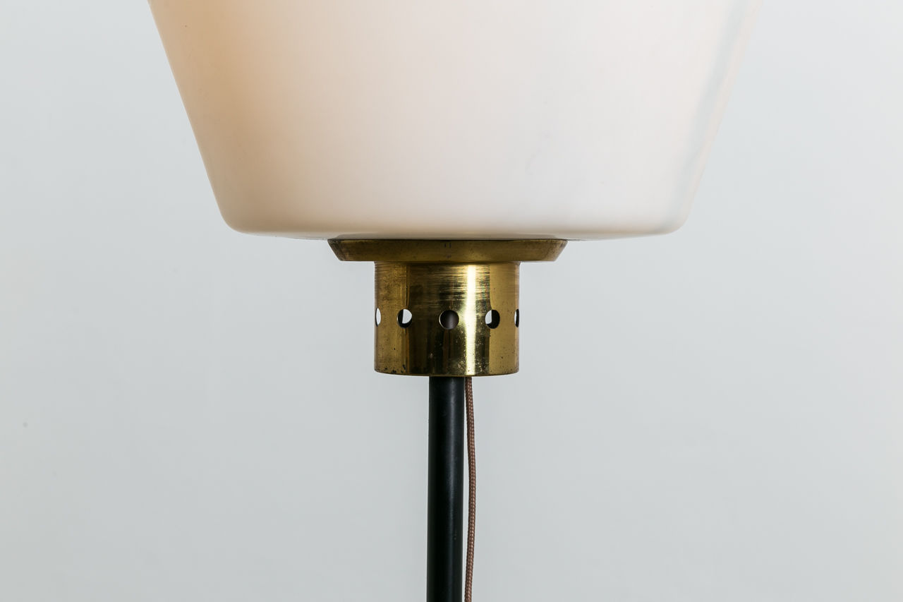 MidCentury brass floor lamp with Murano Shade Circa 1950 Italy