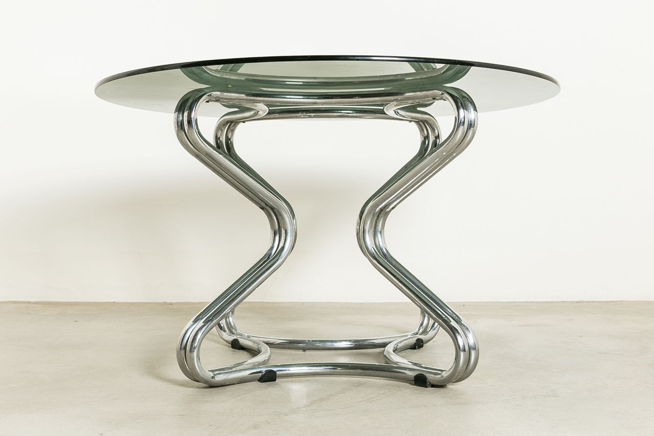 Mid Century Smoked glass and Chrome Dining Table