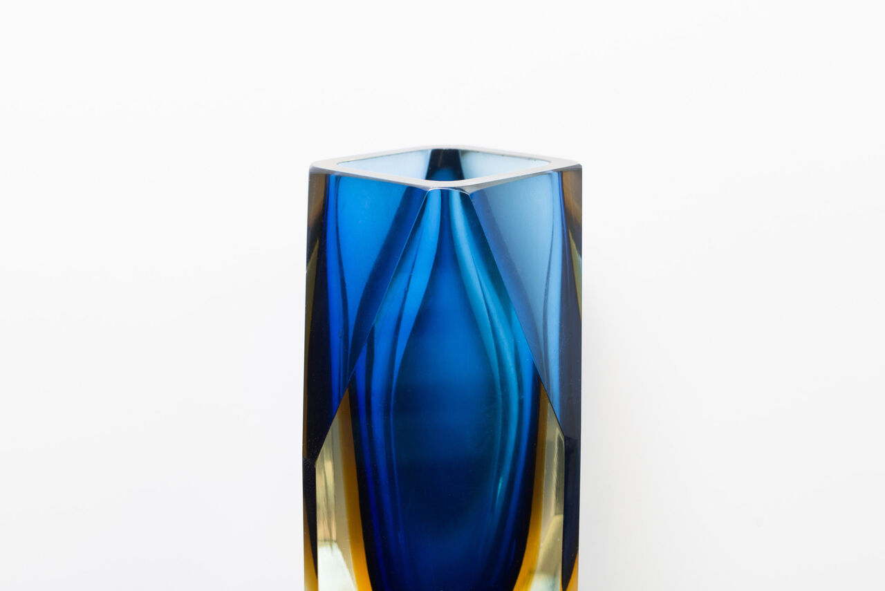 Murano Art Glass Seguso Blue and Amber Faceted Vase