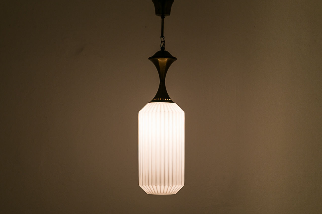 Opaline and brass pendant light Circa 1950 Italy