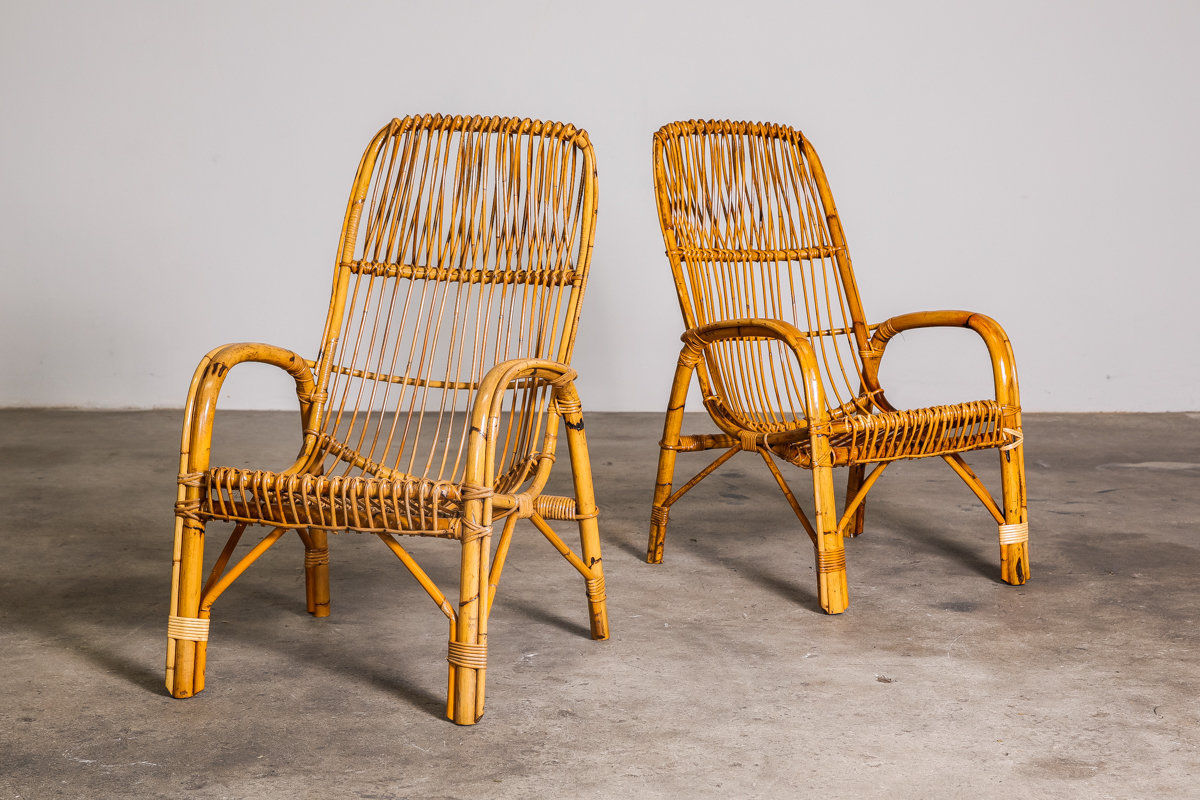 Pair of Franco Albini style lounge chair set