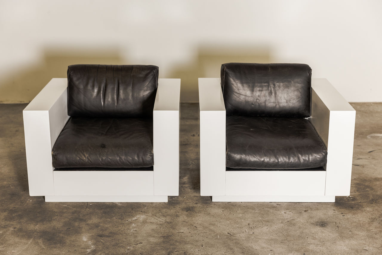 Pair of Massimo and Lella Vignelli Cube Chairs Saratoga Italy 1968