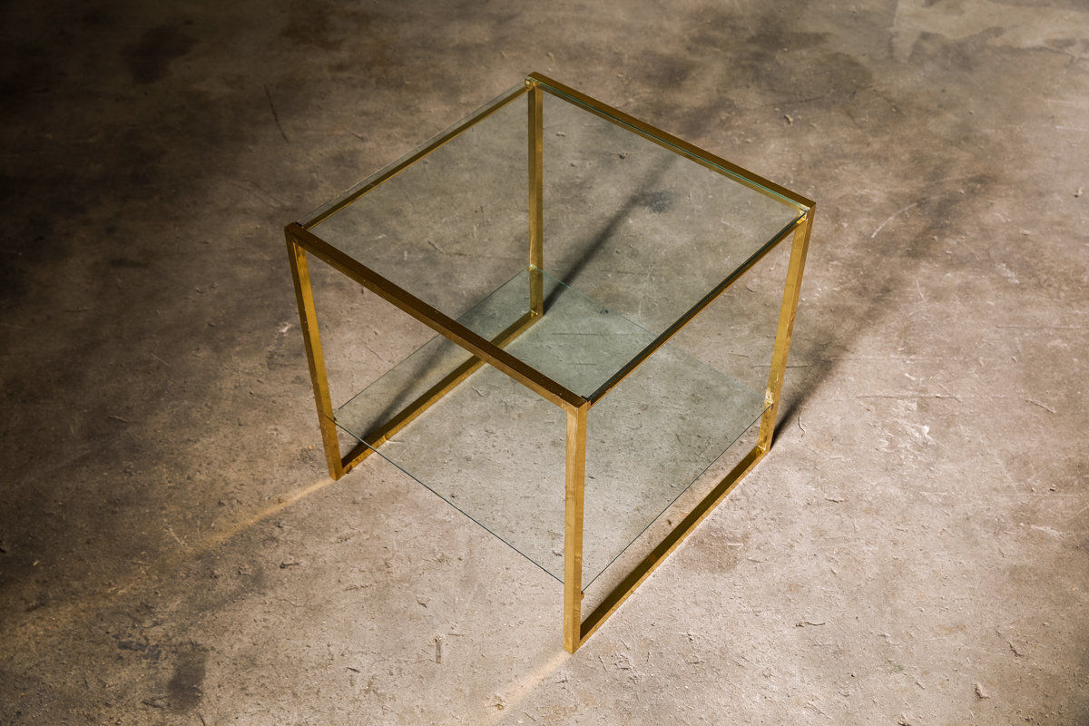 Pair of vintage French brass side tables