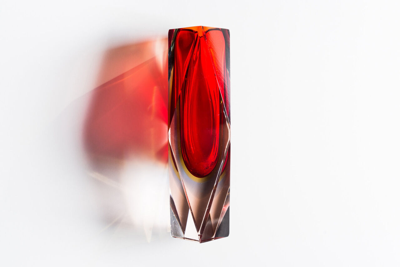 Red Murano Crystal Vase 1970 Italy