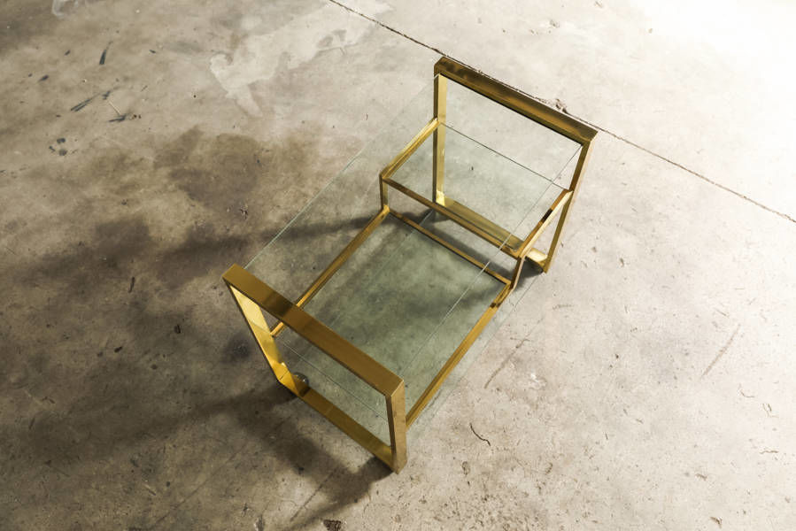 Romeo Rega Brass and glass bar cart