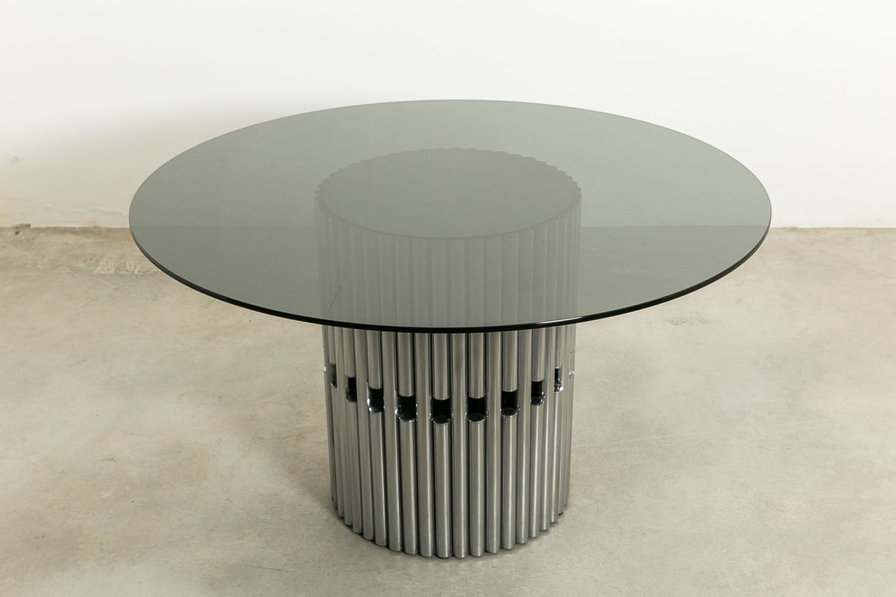 Sculptural Chrome and Glass Italian Dining Table
