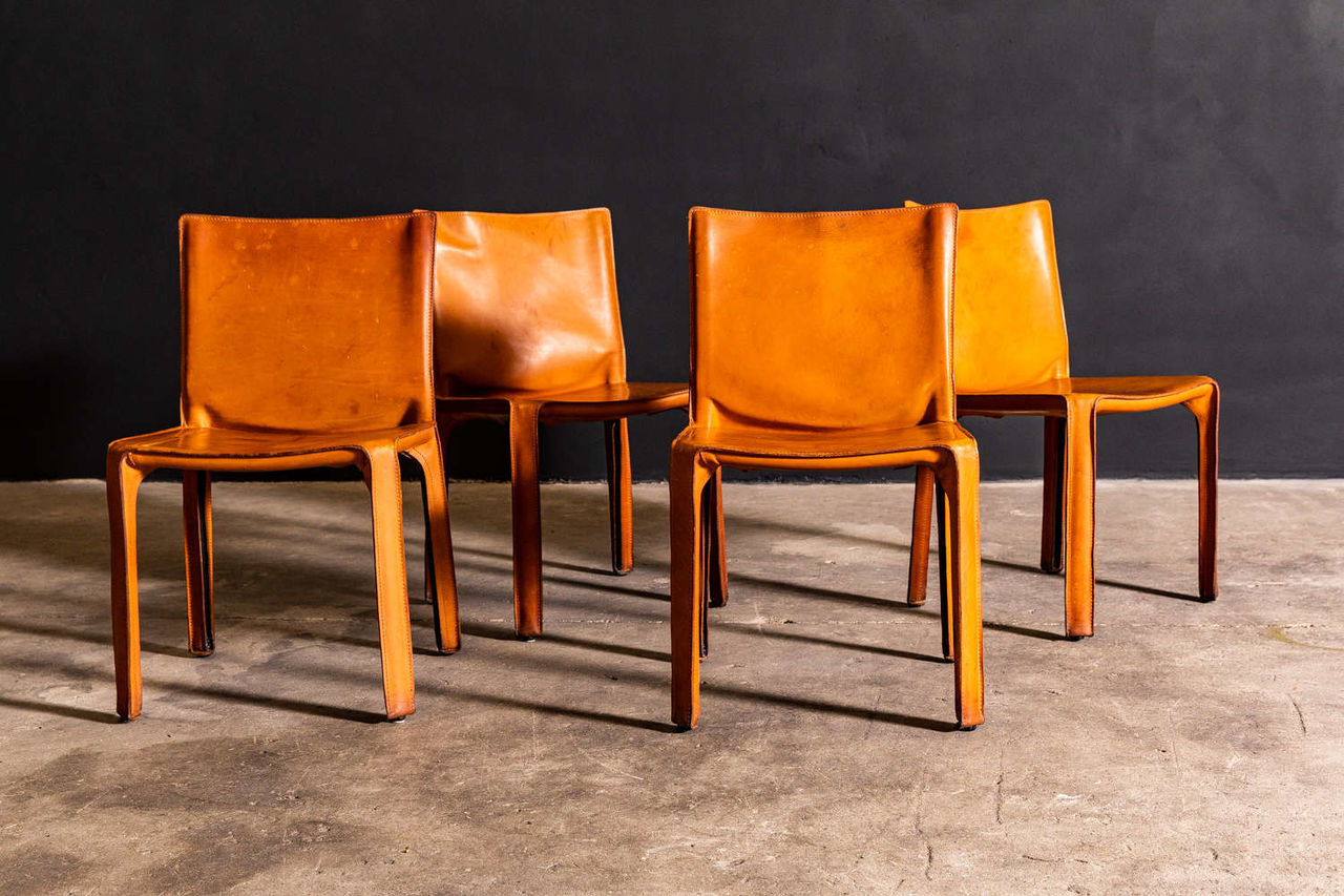 Set of 4 Cognac Leather Mario Bellini Cab Chairs Produced by Cassina