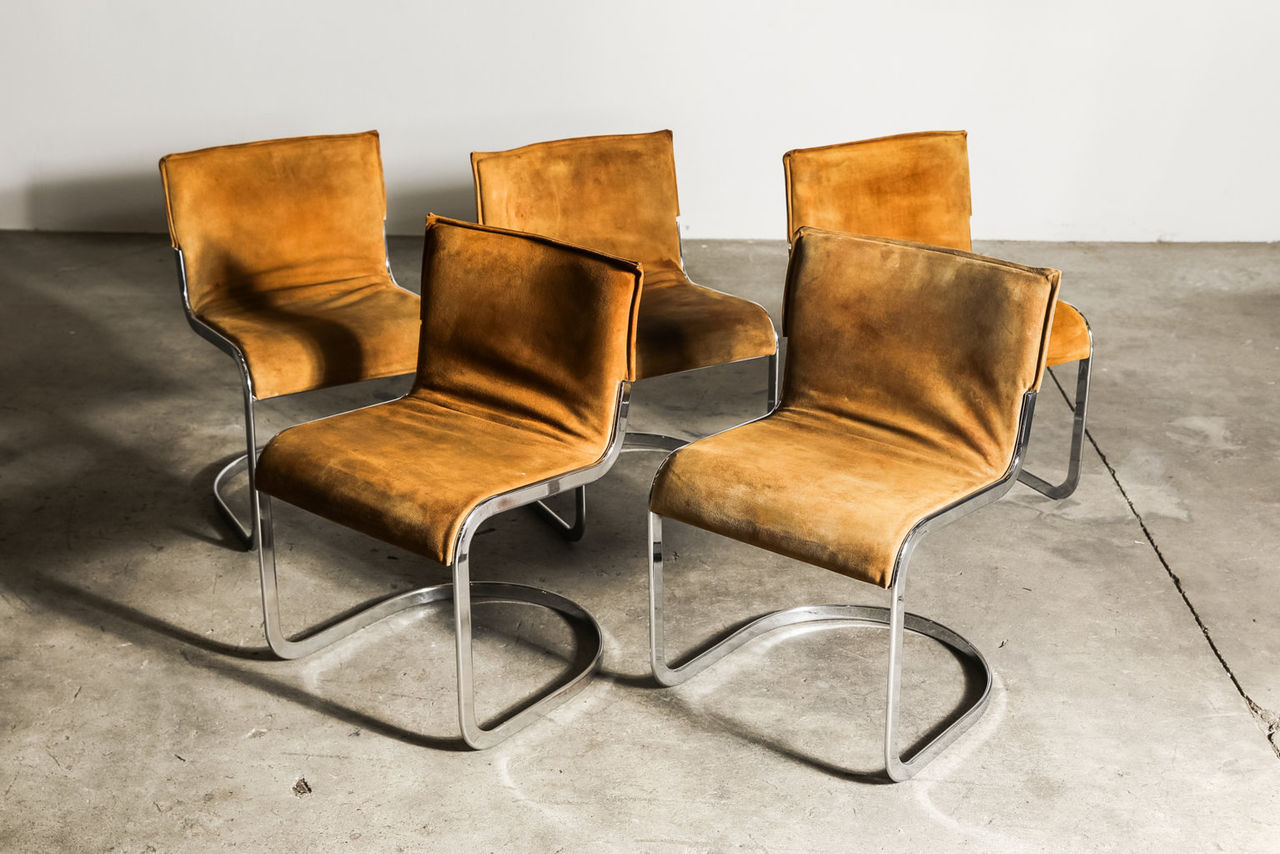 Set of Italian suede Chairs by Willy Rizzo 1970