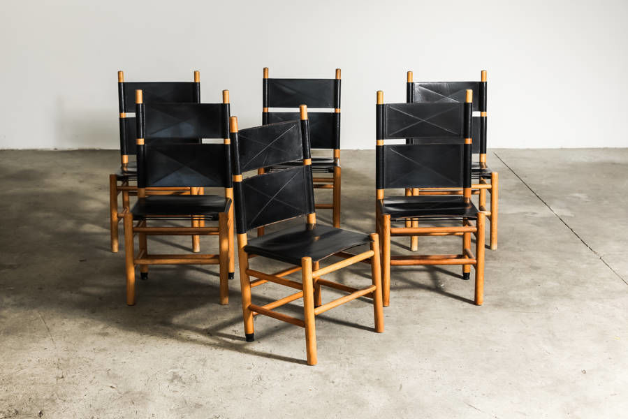 Set of Six Kentucky chairs by Carlo Scarpa for Bernini