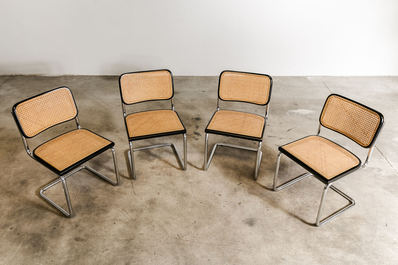 Set of four B32 Cesca Chairs by Marcel Breuer