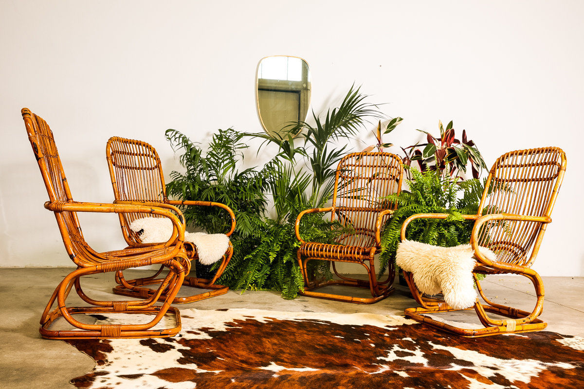 Set of four Bamboo armchairs Franco Albini Style