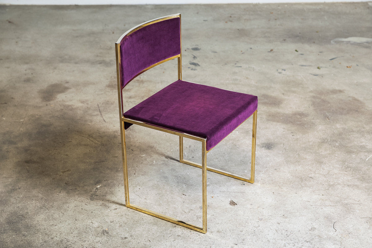 Set of four Brass Dining Chairs by Willy Rizzo 1970 ItalyY